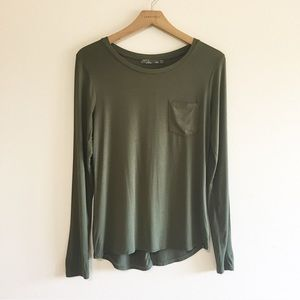 Prana Green Long Sleeve Pocket Tee